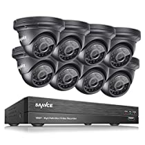 SANNCE HD-TVI 1080P Security Camera System W/ 8-Channel DVR Recorder (Support Up to 8TB HDD Capacity) 8 100ft Night Vision Weatherproof Outdoor Cameras ,Easy Remote Access Motion Detection--No HDD
