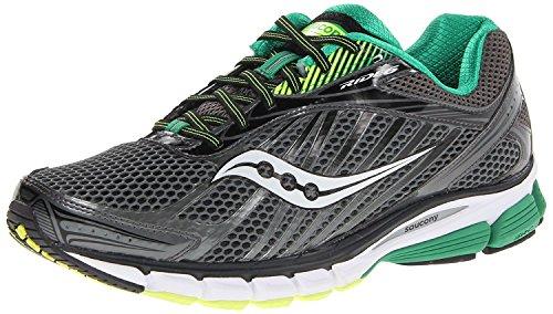 Saucony Men's Ride 6 Running Shoe, Grey/Green/Citron, 42 2E EU/7.5 2E UK