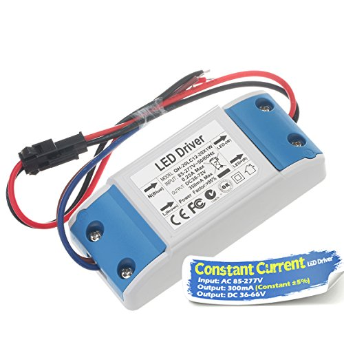 Chanzon LED Driver 300mA (Constant Current Output) 36V-66V (Input 85-277V AC-DC) (12-20) x1W 12W 15W 18W 20W Power Supply 300 mA Lighting Transformer Drivers for High Power COB Chips (Plastic Case)