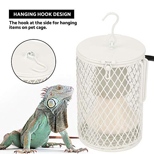 Reptile Heat Lamp with Guard, Ceramic Heat Emitter Basking Heater Lamp for Turtle, Snakes, Lizards, Frogs, Chicks with Power Switch&Anti-Biting Hanging Hook Design, 100W(White)