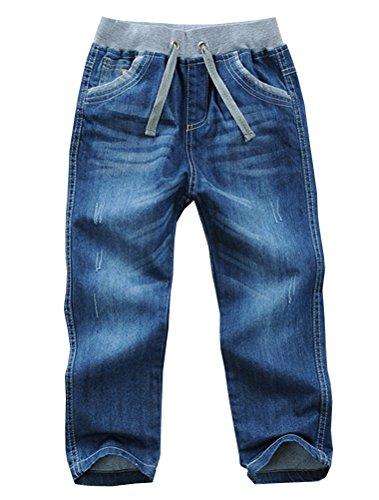Mallimoda Boys Denim Jeans Elastic Waist Washed Husky Pants Style 1 Blue 7-8 Years ()