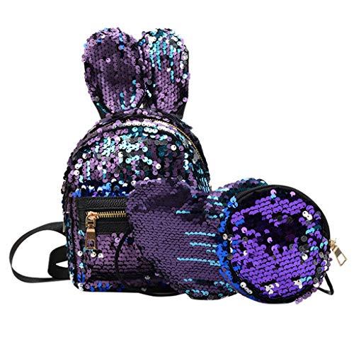 (Londony ✡ Sequin+PU School Backpack Set 3 Pieces Lightweight Teen Girls Bookbags Tote Bag Pencil Case Hangbag)