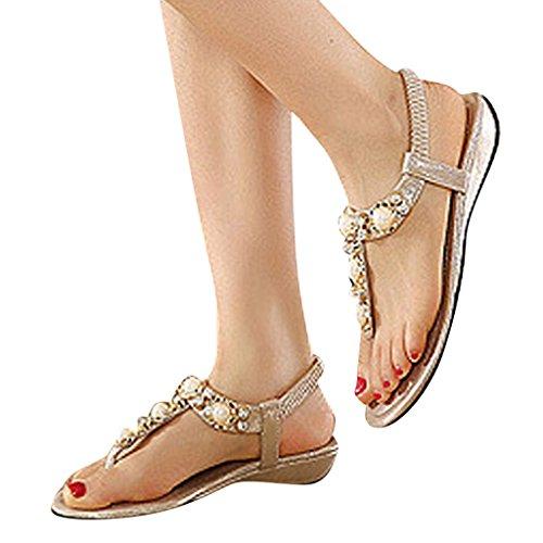 MRSMR - Sandalias de vestir de poliuretano para mujer dorado