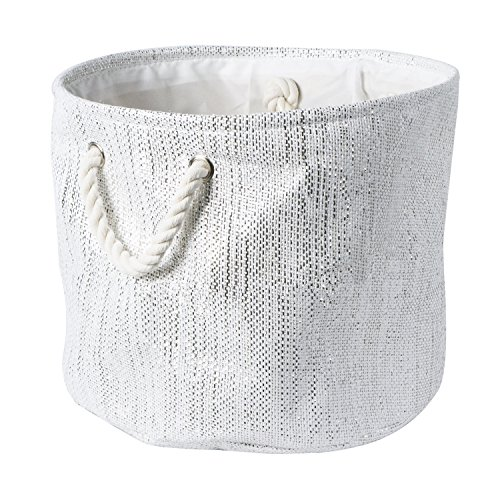 12 Inch White Handle (DII Decorative Metallic Lurex Storage Basket, Collapsible & Convenient for Home Organizational Solutions (Small Round - 12x14