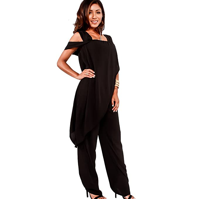 Amazon.com: Bodycon4U Womens Off Cold Shoulder Party Clubwear Ruffles Wide Leg Jumpsuit Romper Dress: Clothing