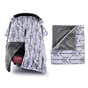 Towin Baby Car Seat Canopy and Nursing Cover Matching a Arrow Minky Receiving Blanket 2Pcs Set,Grey