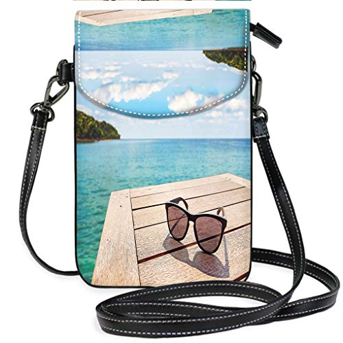 Multicolor Shoulder Messenger Bag Phone Purse Sunglass on Wood Terrace at Seaside with Nice Blue Sky Multifunction Travel Crossbody Purse Wallet ()