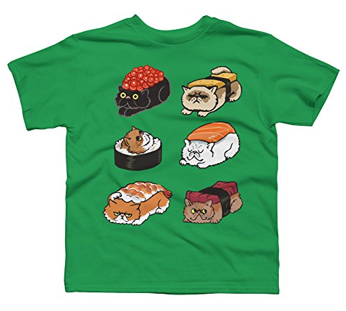 Sushi Persian Cat Boy's X-Large Kelly Green Youth Graphic T Shirt