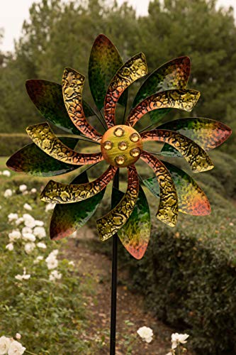 Alpine Corporation SLL1876 Spinner-Outdoor Yard Art Decor-Green and Orange Alpine Dual Floral Windmill Stake with Gems-Kinetic Spin, 65 Inch Tall,