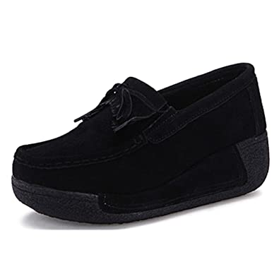 07c818701d6 Eagsouni Ladies Comfort Moccasins Slip on Suede Loafers Women Casual  Walking Driving Shoes Platform Wedge Trainers