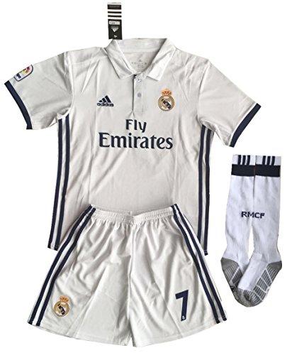 1a5a1028c90 Real Madrid Ronaldo  7 Soccer Jersey Set (Shirt + Shorts + Socks) Kids Youths  11-13 Years Old  Amazon.co.uk  Sports   Outdoors
