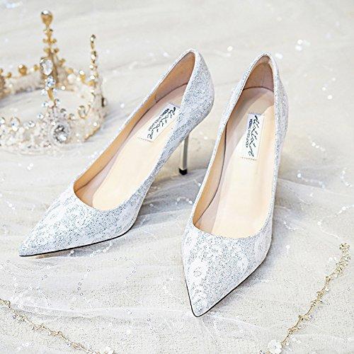 HUAIHAIZ Damen High Hochzeit Heels Pumps Hochzeit Schuhe girl Bräute Hochzeit High silber Schuhe mit hohen Absätzen crystal Schuhe Abend Schuhe Silver 7CM 530443