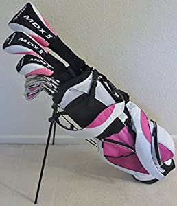 "Womens Petite Complete Custom Made Golf Set Clubs for Ladies 5'0""-5'5"" Tall Taylor Fit Driver, Wood, Hybrid, Irons, Putter, Bag Beautiful Pink and White Color"