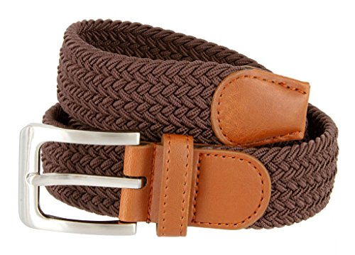 Braided Elastic Fabric Woven Stretch Belt Leather Inlay (Brown, (Silver Buckle)