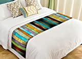 NNBZ Custom Vertical Stripes Wood Bed Runner Cotton Bedding Scarf Bedding Decor 20x95 inches