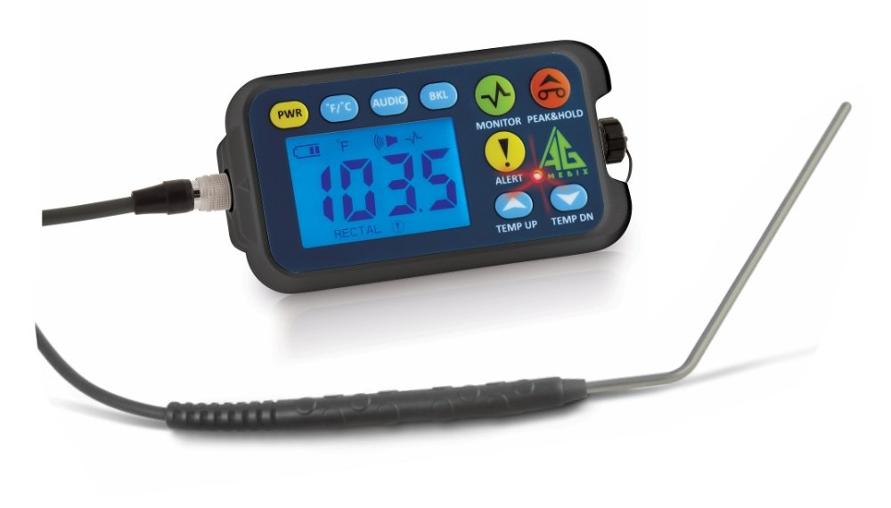 """Cattle Rectal Thermometer with 4"""" Angled Probe. Fast, Accurate Veterinary Thermometer for Dairy and Feedlot. AG-Medix AG-102 Thermometer with large LED and Arm Holster for easy one-hand operation."""