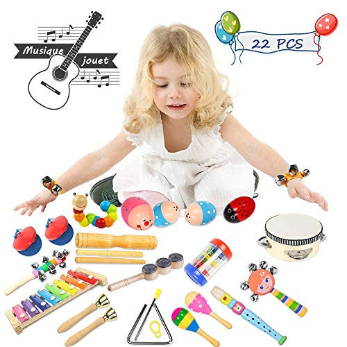 Toddler Musical Instruments- LEKETI 15 Types 22pcs Wooden Toddler Musical Percussion Instruments Toy Set for Kids Preschool Educational, Early Learning Musical Toys Set for Boys and Girls with Storage by LEKETI (Image #3)