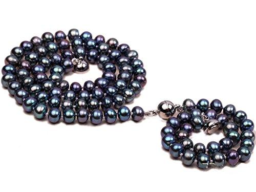 JYX AA Peacock Green Flat Freshwater Pearl Necklace Bracelet (7mm Aa Freshwater Pearl Bracelet)