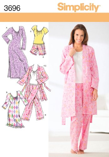 Simplicity Pattern 3696 Misses Pants or Shorts, Robe, Knit Nightgown in 2 Lengths or Top Sizes 4-16 XXS-M]()