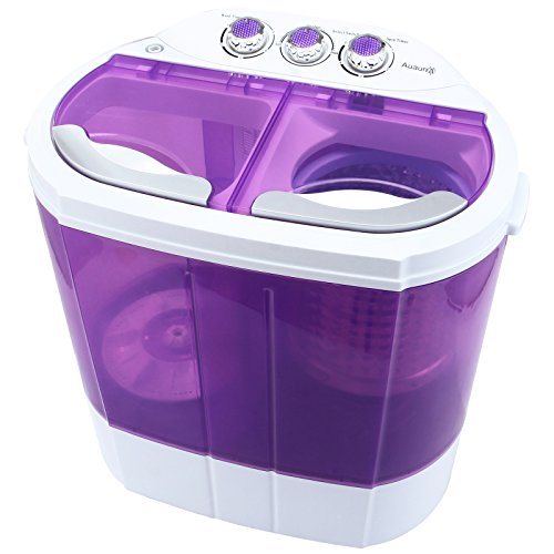 KUPPET Mini Portable Washing Machine, Compact Durable Design to Wash All Your Laundry, Twin Tub Washer and Dryer Combo for Apartments, Dorms, RV Camping Swim Suit Spinner Dryer (Purple)