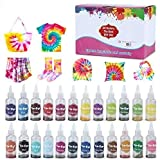 24 Colors Fabric Tie Dye Kit for Party, Gathering, Festival, User-Friendly, Add Water Only Perfect Thanksgiving Christmas Gift,Rainbow,Non-Toxic,Permanent (Color: 24 color-1)