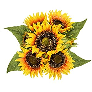 Sunm boutique Artificial Sunflower Bouquets, Lifelike Silk Sunflowers with 7 Floral Heads,Bride and Groom Holding Flowers for DIY Wedding Office Party Garden Hotel Home Decoration 114