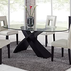 amazon dining room furniture | Amazon.com - Global Furniture Exclaim Oval Glass Dining ...