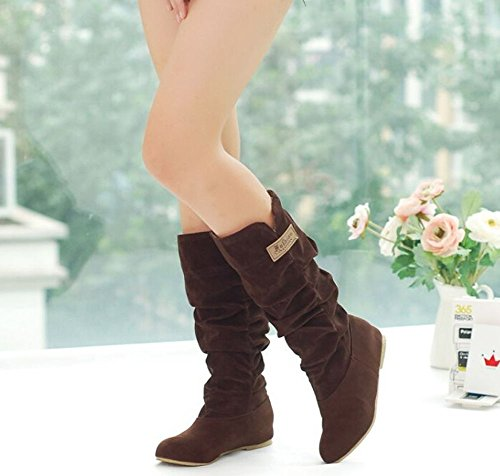 Autumn stylish shoes snow princess casual sweet flat women knee boots Brown high Winter shoes boots Ur5q4U