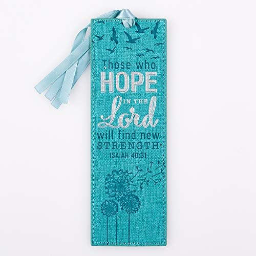 - Hope in the Lord Teal Blue LuxLeather PageMarker/Bookmark - Isaiah 40:31