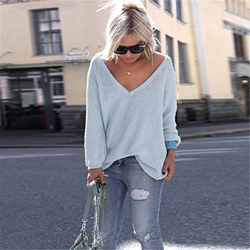 Mode Couleur À Taille Unie Pull Manches Tricot Grande T Bleu shirt Pullover Blouse Femme Neeky La Longues 7wfxqgq