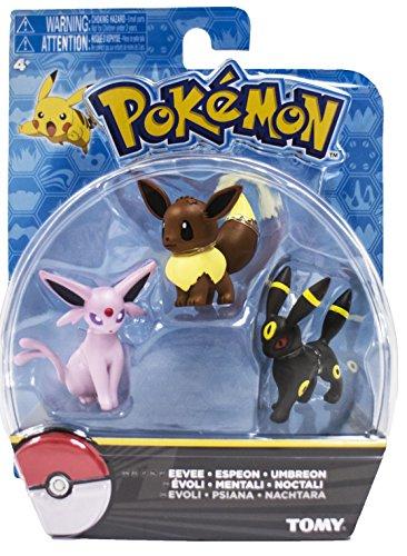 Official Packaged Pokemon Eevee Eeveelutions 3 Pcs. Exclusive Figure Set Includes: Eevee , Espeon & Umbreon by Hot Topic - Exclusive Figure Set