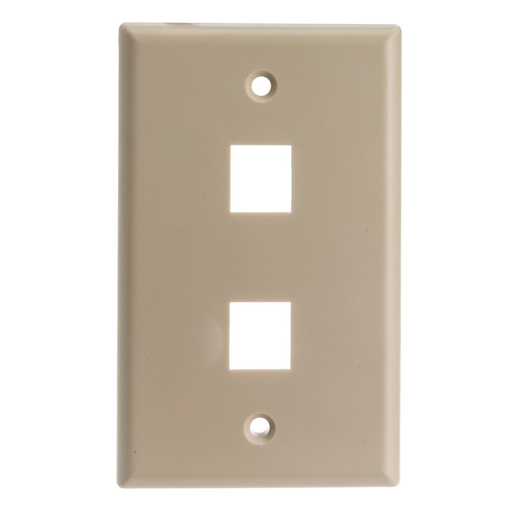 ACL Keystone 2 Port, Single Gang Wall Plate, Beige, 100 Pack by ACL