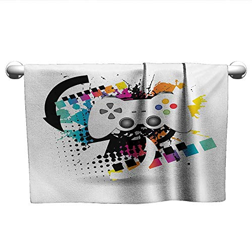 Gamer,Hair Towels for BoysModern Console Game Comtroller with Halftone Motif and Color Splashes Background Absorbent Towel Multicolor W 10