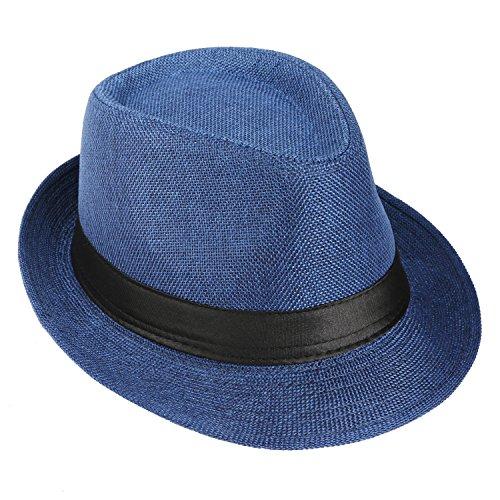 KaKaxi 1920s Mens Costume Accessory Set - Manhattan Fedora Hat, Y-Back Suspenders & Pre Tied Bowtie, Gangster Tie,Toy Cigar & Mustache (Onesize, Blue)