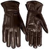 Ladies Warm Winter Gloves Dress Gloves Thermal Lining Geniune Leather (WOMEN BROWN, Medium)