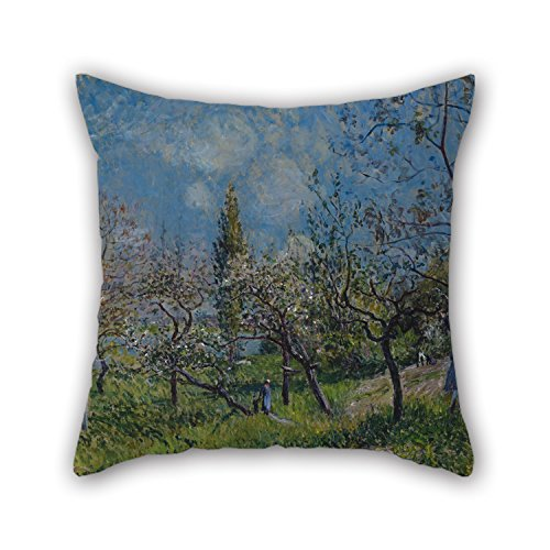 Bestseason The Oil Painting Alfred Sisley - Orchard In Spring, By Pillowcase Of ,18 X 18 Inches / 45 By 45 Cm Decoration,gift For Bar,kids,teens Girls,deck Chair,divan,bedding (twice Sides)
