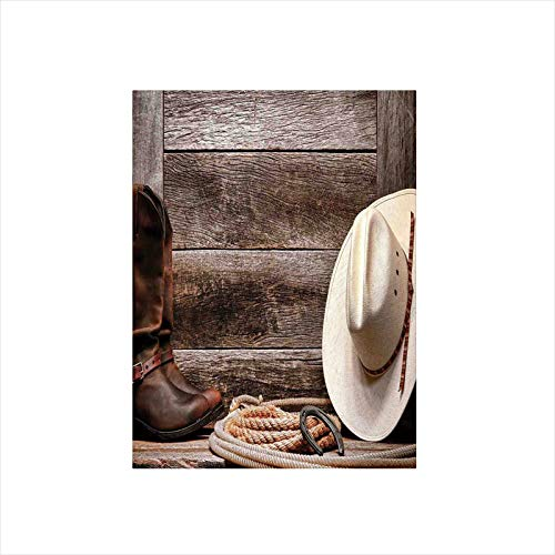 (Decorative Privacy Window Film/American West Rodeo White Straw Cowboy Hat with Lariat Leather Boots on Rustic Barn Wood/No-Glue Self Static Cling for Home Bedroom Bathroom Kitchen Office Decor)