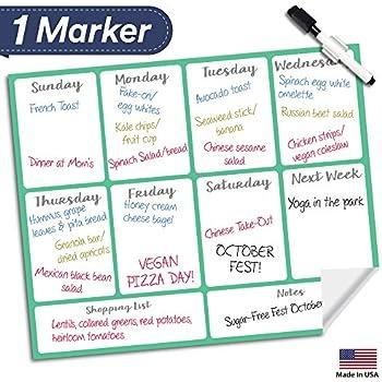 Amazon Com Dry Erase Meal Planner Calendar 16 Quot X13