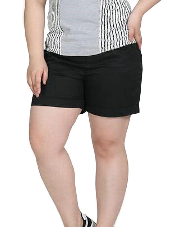 9f511e8497 Pandapang Womens Stretchy Plus Size Elastic Waist Pure Color Plain Casual Basic  Short at Amazon Women's Clothing store: