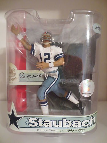 (Roger Staubach #12 Dallas Cowboys Red White Blue Helmet Variant Chase Alternate McFarlane NFL Legends Series 3 Action)
