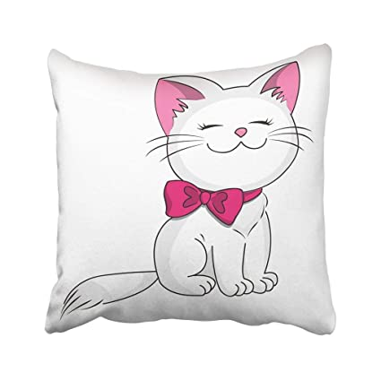 Image of: Face Image Unavailable Amazoncom Amazoncom Custom Cat White Kitty With Pink Bow Cute Cartoon Funny