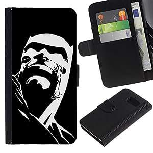 KLONGSHOP / Tirón de la caja Cartera de cuero con ranuras para tarjetas - Cartoon Character Poster Black - Samsung Galaxy S6 SM-G920