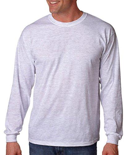 Blank T-shirts Long Sleeve (Gildan mens Heavy Cotton 5.3 oz. Long-Sleeve T-Shirt(G540)-ASH GREY-S)