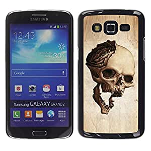 Planetar® ( Skull Rose Metal Rock Roll Music Beige ) Samsung Galaxy Grand 2 Fundas Cover Cubre Hard Case Cover