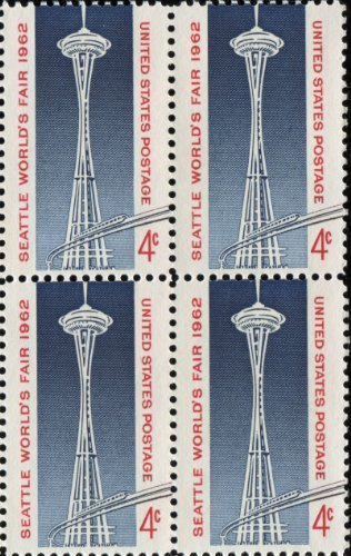 Space Needle and Monorail Set of 4 X 4 Cent Us Postage Stamps Scot #1196a by U.S. -