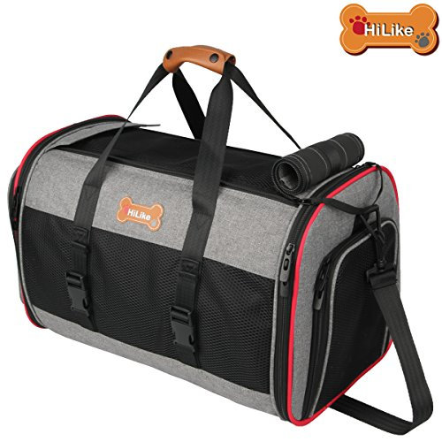 Airline Approved Pet Travel Carrier Bag for Small Dog and Cat With Fleece Mat-Soft Sided Dog Carrier Bag-Dog Purse Bag With Side Pockets By (Sided Fleece Mat)