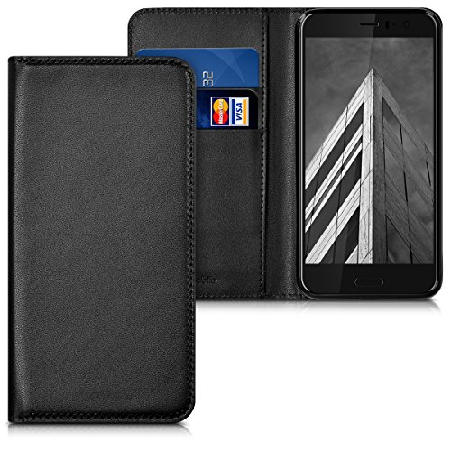 (kwmobile Flip Case for HTC U11 - Smooth PU Leather Protective Folio Cover with Stand Feature - Black)