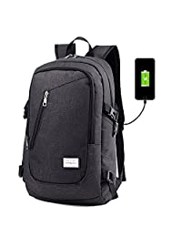 Laptop Backpack with USB Charging Port Fits 12-15.6 Inch Laptop/Notebook-Lightweight Waterproof School Rucksack Business Knapsack Travel Hiking Daypack For Men Women College (Blackgrey)