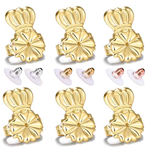 Magic Earring Lifters and Earring Backs Pack - 3 Pairs of Hypoallergenic Adjustable Earring Lifts and Earring Bullets Backs - Perfect for Drooping Earrings (3 Gold)