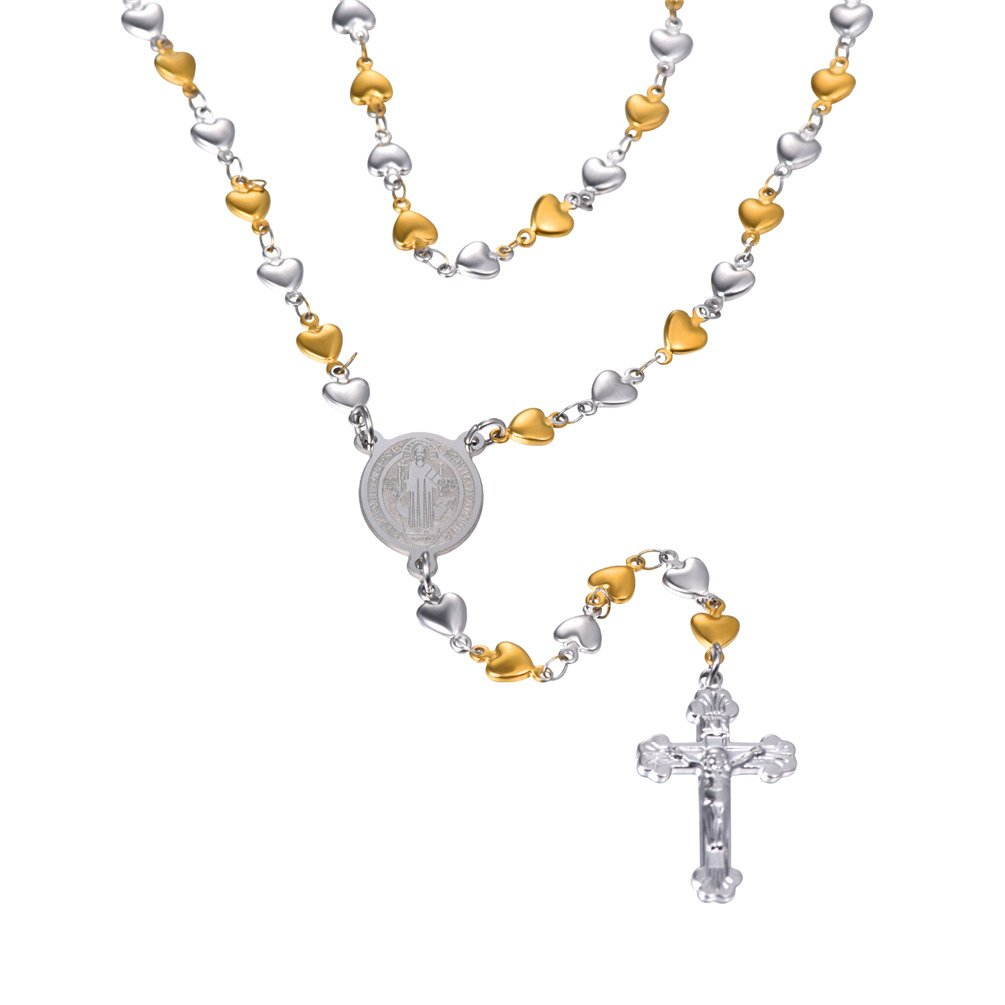 Women Mens Colorful Evil Eye Beaded Rosary Necklace With Crucifix and Medal U7 Jewelry U7 GN2214K